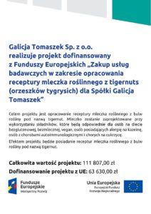GT Group - projekt UE - dofinansowanie - mleczko roślinne zTigernuts
