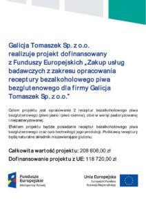 GT Group - projekt UE - dofinansowanie - bezalkoholowe piwo bezglutenowe